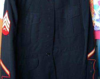 MILITARY OFFICERS COAT, vintage jacket, black, emblems, wool, uniform