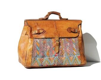 Vintage Large Turkish Kilim Rug Tapestry Leather Travel Bag