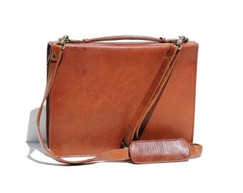 Vintage Georgian Brick Brown Leather Portfolio Organizer Bag