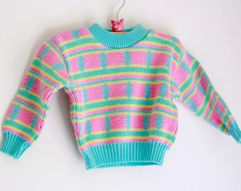 Vintage baby girls sweater eighties pastel pink and blue 6 to 9 months