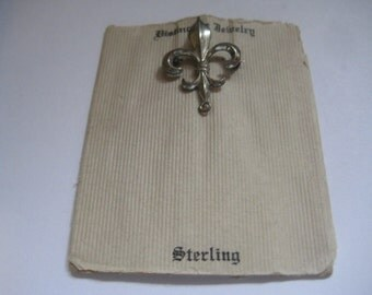 Antique Fleur de Lis Pin on Original Card for Jewelry Making