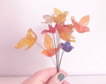 Set of 11 Vintage Acrylic Bird Stems- Colorful- Orange, Blue, Red, Yellow
