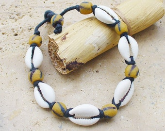 Cowrie Shell and African Trade Powder Bead Bracelet - Unisex