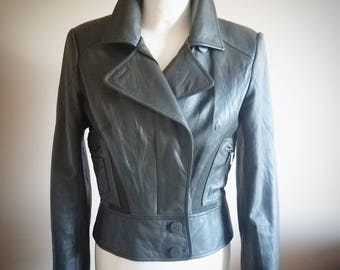 Forrest Green NICOLE MILLER Genuine Leather Fitted Biker Jacket