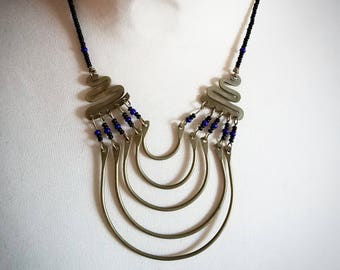 Beads and Brass Tribal Boho Necklace