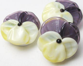 sra Lampwork Glass Beads, VIOLA PANSIES, Spring Flowers in Light Yellow and Violet Purple, handmade jewelry supplies