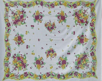 Vintage Tablecloth Broderie Fruit Printed Table Cloth Purple Yellow Jadeite Green 1940's Dining Kitchen Textiles Vintage Linens