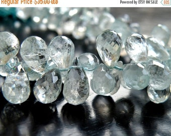 Final 51% off Sale Aquamarine Gemstone Briolette Blue Faceted Tear Drop 5 to 6mm 1/2 strand 50 beads