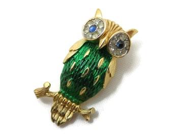 Trifari Owl Brooch - Green Enamel Rhinestone Eyes, Figural, Trifari Costume Jewelry