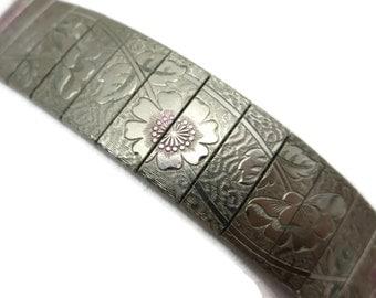 Etched Flower Bracelet - Pink Tinted, Panels on Mesh