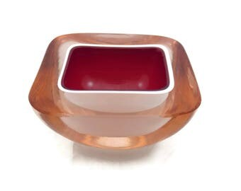 Murano Glass Bowl - Sommerso Pink, White and Red, Seguso, Falvio Poli, 1960s Mid Century, Geode Ashtray