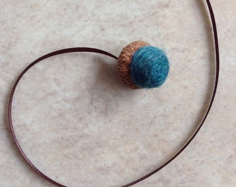 Needle felted single acorn bookmark turquoise and brown