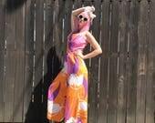 Womens Jumpsuit // 60s Mod // 1960s Clothing // Orange Purple Pink White // Wide Leg Pants // Tori Richard Honolulu Hawaiian // XS SMALL