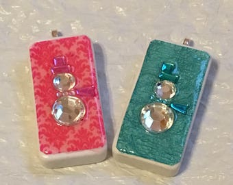 Pink or Teal Snowman - Domino Pendant - Domino Jewelry - Domino Necklace - Domino Pendant - Christmas Gift, Birthday Gift,  Party Favors