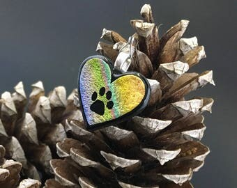 Multi colored heart with paw print pendant