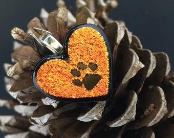 Fire heart paw print pendant