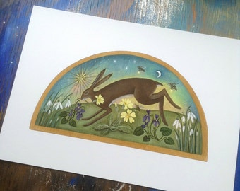Journey into Spring.    Hare/Spring/Wildflowers/ Art Print/by Karen Davis