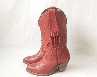 Vintage Capezio Red Fringe Boho Cowboy Boots. Size 7