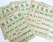 5 1946 Vintage Gold Medal Bingo Game Cards for Scrapbooks, Journal, Creative Use, Supplies, Paper Goods, Green and White
