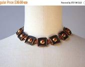 STOREWIDE SALE 1950s Copper Necklace / Vintage 50s Renoir Choker Necklace / Mid Century Copper Choker