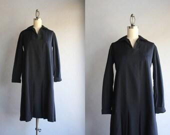 1920s Dress / Vintage 20s Black Gabardine Dress / 1920s Little Black Day Dress