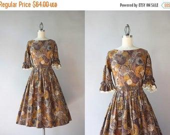 STOREWIDE SALE 50s Dress / Vintage 1950 Cotton Coin Print Dress / 50s 60s Cotton Novelty Print Dress
