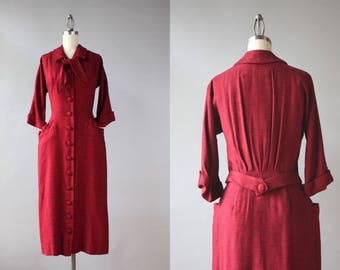 1950s Dress / Vintage 50s Red Jersey Wiggle Dress / 50s Oxblood Bow Neck Fitted Dress S small