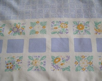 Vintage Tablecloth ~ Floral Geometric