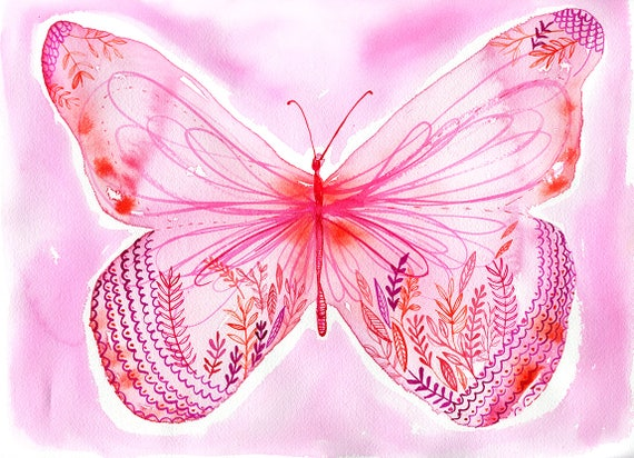 Big Pink Butterfly Archival Wall Art Print Illustration Kids Decor