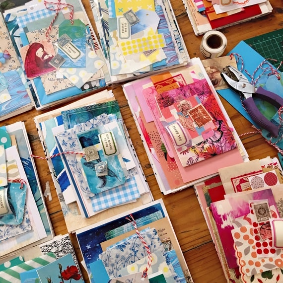 Mixed Paper Pack - surprise lucky dip pack, collage, scrapbooking, card making, journaling, craft, assemblage