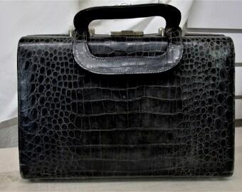 Vintage Handbag Satchel Black Alligator Bag Valise Style Purse Luggage Handle