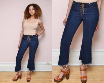 Vintage 90s Jordache Lace-up Flare Jeans //  Fringe Raw Hem Cut Off Jeans - 29/30 inch waist