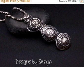 ON SALE Sterling silver long pendant, hand-crafted, oxidized, designsbysuzyn