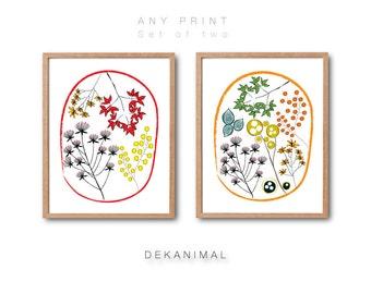 Floral print set, Wall art, Botanical print, Botanical illustration, Kitchen decor, Botanical print set, Flower art print, Garden decor
