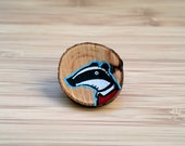 Badger wooden brooch with handpainted illustration