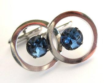 Vintage Men's Cuff Links Modern Style Silver Circles with Blue Rhinestone Centers / Gentleman Cufflinks