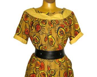 Vintage Liberty House Muu Muu Caftan in Floral Print Cotton / Scallop Neckline Detail / Hawaiian Dress / Tiki Oasis