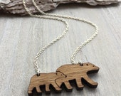 Mama bear and bear cub Necklace, christmas necklace, baby shower necklace, first time mummy Necklace.