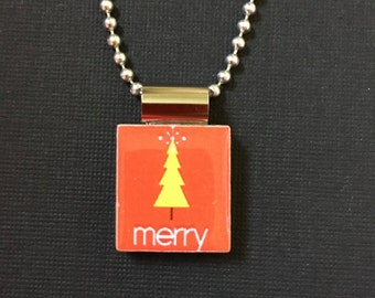 Merry Christmas Tree Jewelry, Christmas Tree necklace, Christmas Tree Pendant, recycled scrabble tile jewelry, Christmas gift idea, chain