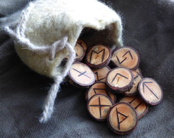 tamarack rune set, hand carved, branded, and sanded silky smooth, with felted wool drawstring pouch