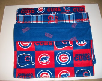 Baby's First Blanket Chicago Sports (Choose Chicago Cubs Block, Plaid, Traditional or Blue with Red Embroidered Letters)