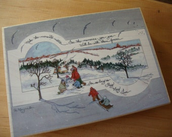 christmas stamp large wood mounted rubber stamp victorian style snowy scene paper crafting supplies tools Scrapbooking Christmas crafting