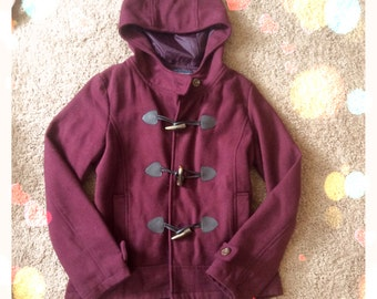 Spring Mornings ... Burgundy toggle pea coat wool Duffle jacket S M