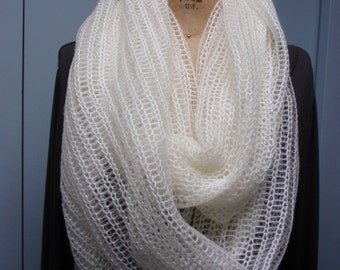 Hand Knit Mohair Infinity Scarf, Long, Shawl, Knit, Cream, Off White