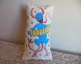 Blue Devil Playing the Accordion, Hand Embroidered Poppet, Pillow, Needlework, Cute, Demon, Imp, Music, Musician, Small, Macabre Art