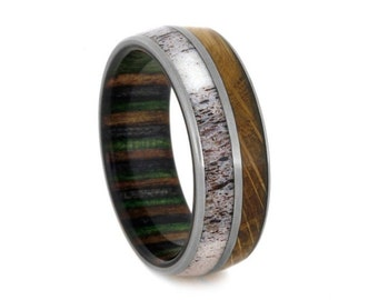 Wood Inlay Ring, Deer Antler Wedding Band With Whiskey Barrel And Dymondwood, Camo Ring