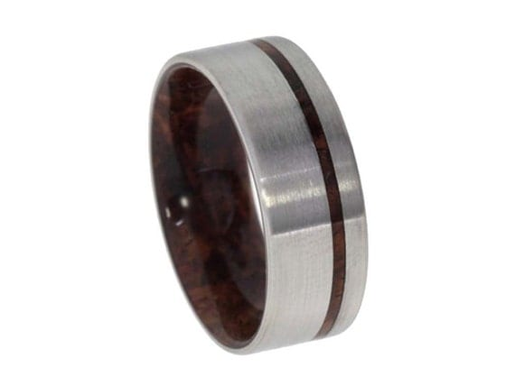 Titanium Ring with an inner Bolivian Rosewood sleeve and Wood Pinstripe, Ring Armor Included