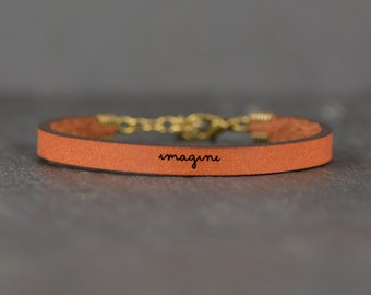 imagine leather band | boho jewelry | imagine bracelet | john lennon | quote bracelet | imagination | gift for her | laurel denise