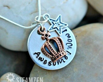 Awesome Wow Hamilton King George Hand stamped Necklace with Large Crown Charm - Hamilton Gift - Hamilfan Gift - unisex