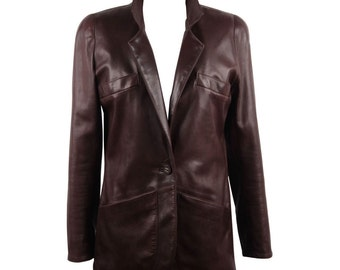 CHANEL BOUTIQUE VINTAGE Chocolate Brown leather jacket blazer French size 38